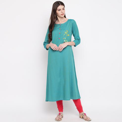 Vbuyz Women's - Sky Blue Colored Casual Embroidered Rayon A-Line Kurti