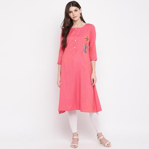 Vbuyz Women's - Light Pink Colored Casual Embroidered Rayon A-Line Kurti