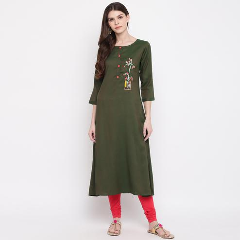 Vbuyz Women's - Green Colored Casual Embroidered Rayon A-Line Kurti