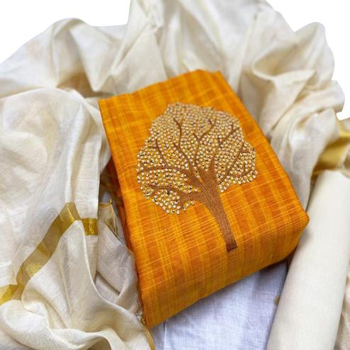 Engrossing Mustard Yellow Colored Partywear Embroidered Cotton Dress Material