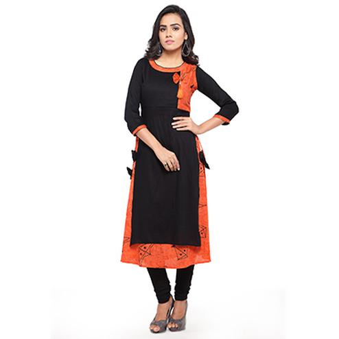 Designer Print Black - Orange Fancy Rayon Kurti