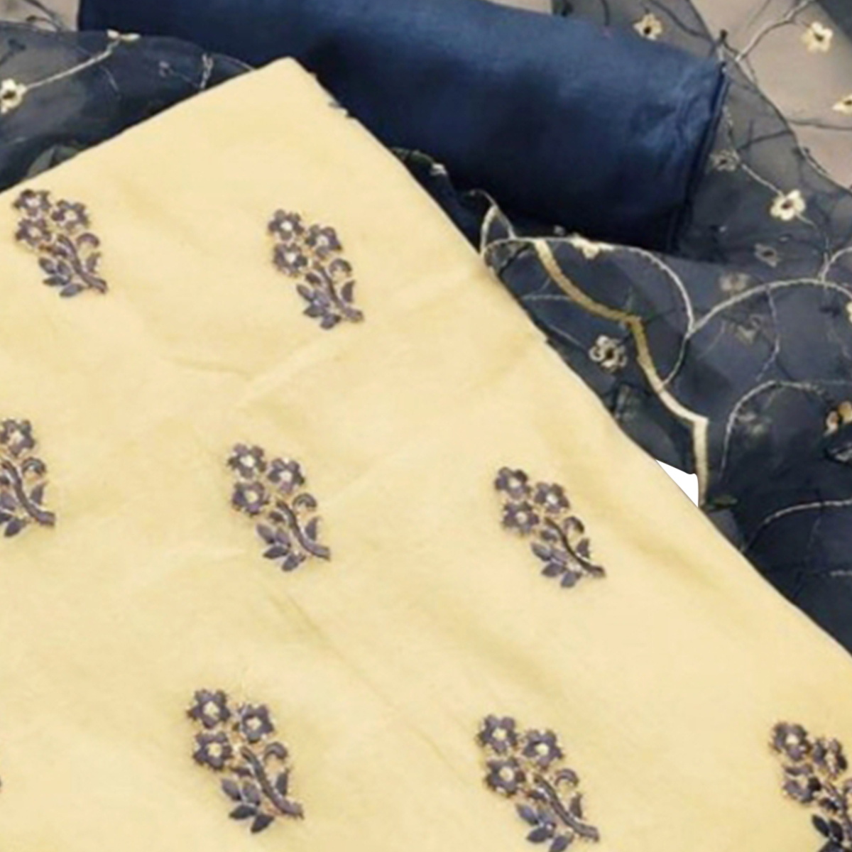 Graceful Light Yellow Colored Partywear Embroidered Chanderi Dress Material