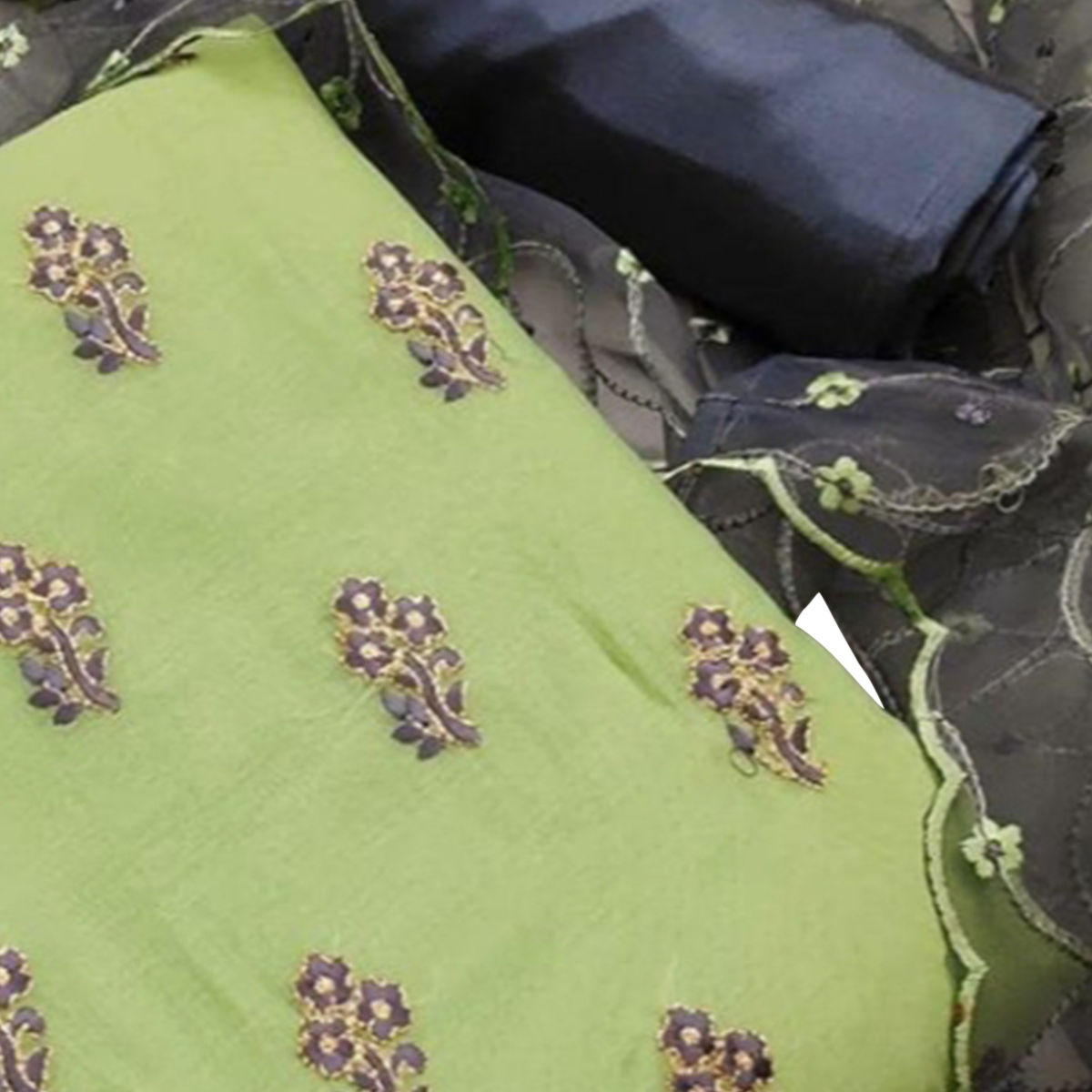 Jazzy Light Green Colored Partywear Embroidered Chanderi Dress Material