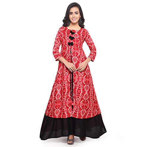 Designer Print Red Fancy Rayon Kurti