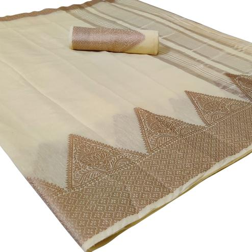 Lovely Cream Colored Festive Wear Woven Silk Saree