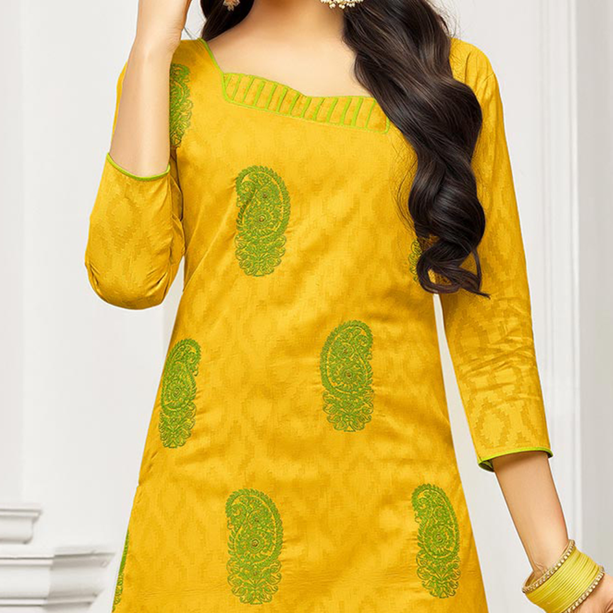 Yellow - Green Straight Cut Embroidered Chanderi Suit