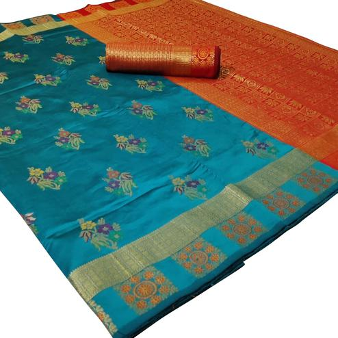 Classy Turquoise Blue Colored Festive Wear Woven Silk Saree