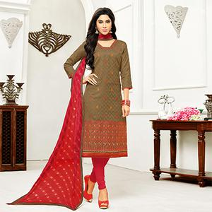 Brown - Red Straight Cut Embroidered Chanderi Suit