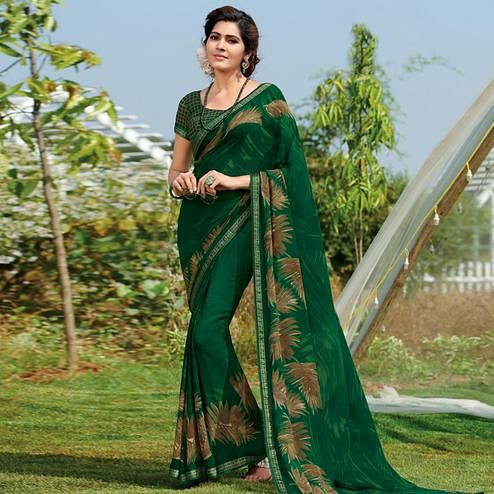 Trendy Bottle Green Colored Casual Wear Printed Georgette Saree