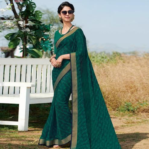 Pleasant Rama Green Colored Casual Wear Printed Georgette Saree