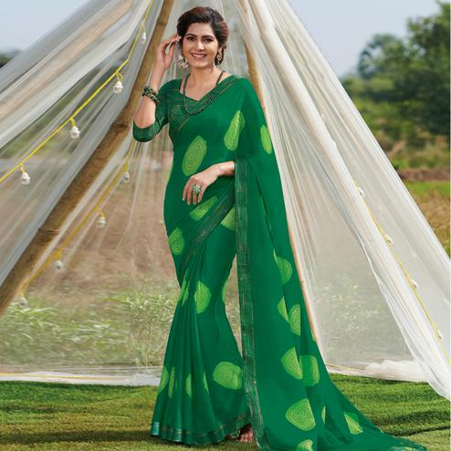Glowing Green Colored Casual Wear Printed Chiffon Georgette Saree