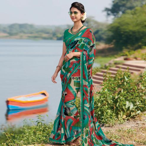 Mesmeric Rama Colored Casual Wear Printed Georgette Saree