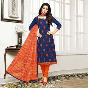 Navy - Orange Straight Cut Embroidered Chanderi Suit