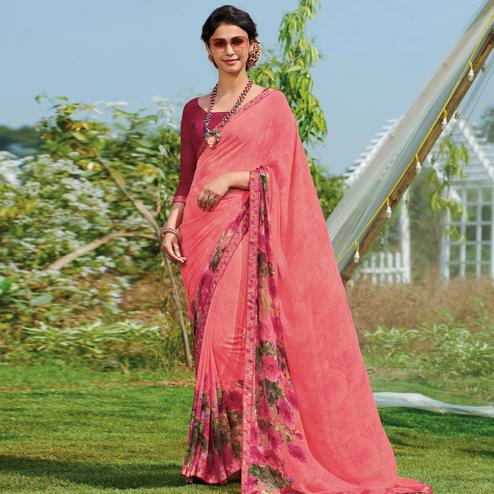 Demanding Peach Colored Casual Wear Printed Georgette Saree