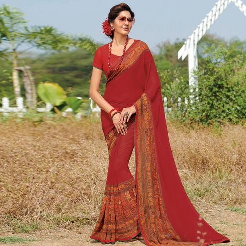 Preferable Red Colored Casual Wear Printed Georgette Saree