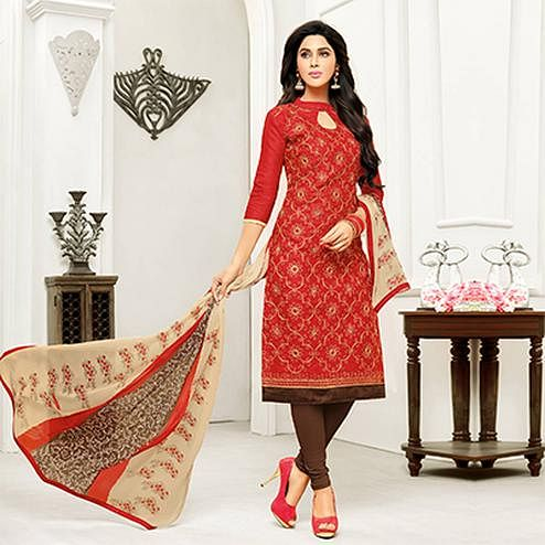Red Straight Cut Embroidered Chanderi Suit