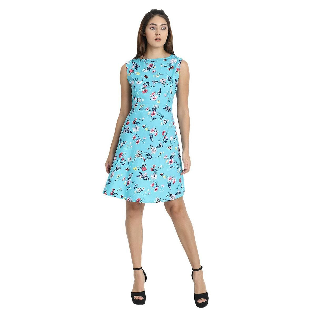 OMADAM - Blue Colored Casual Floral Printed Crepe Dress