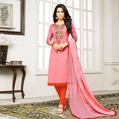 Pink Straight Cut Embroidered Chanderi Suit