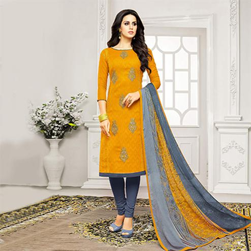 Orange - Grey Straight Cut Embroidered Chanderi Suit