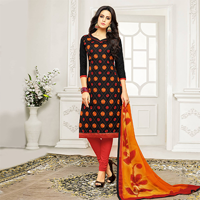 Black - Red Straight Cut Embroidered Chanderi Suit