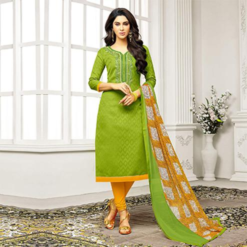 Parrot Green Straight Cut Embroidered Chanderi Suit