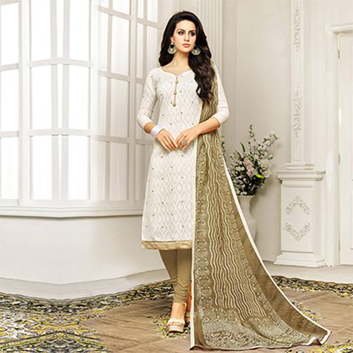 Offwhite Straight Cut Embroidered Chanderi Suit