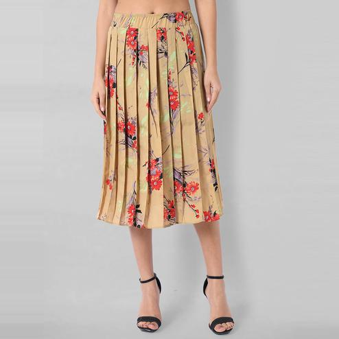 OMADAM - Beige Colored Casual Floral Printed Crepe Skirt