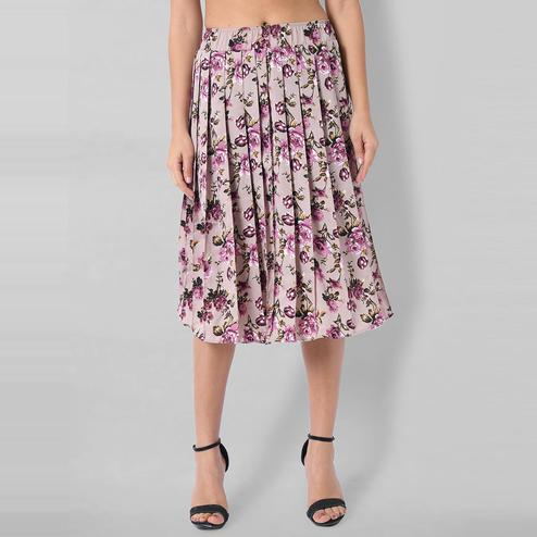 OMADAM - Light Purple Colored Casual Floral Printed Crepe Skirt