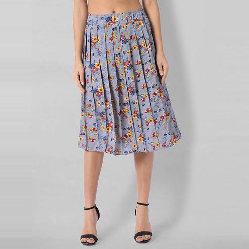 OMADAM - Light Blue Colored Casual Floral Printed Crepe Skirt
