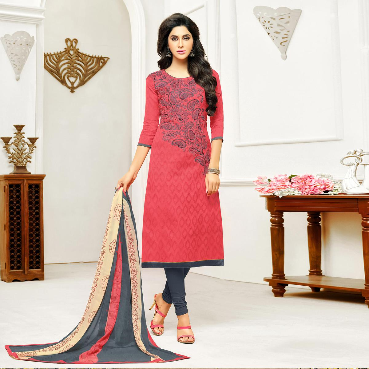 Red - Grey Straight Cut Embroidered Chanderi Suit
