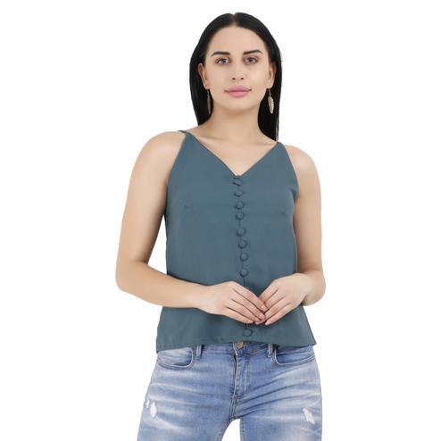 OMADAM - Stone Blue Colored Casual Solid Crepe Top