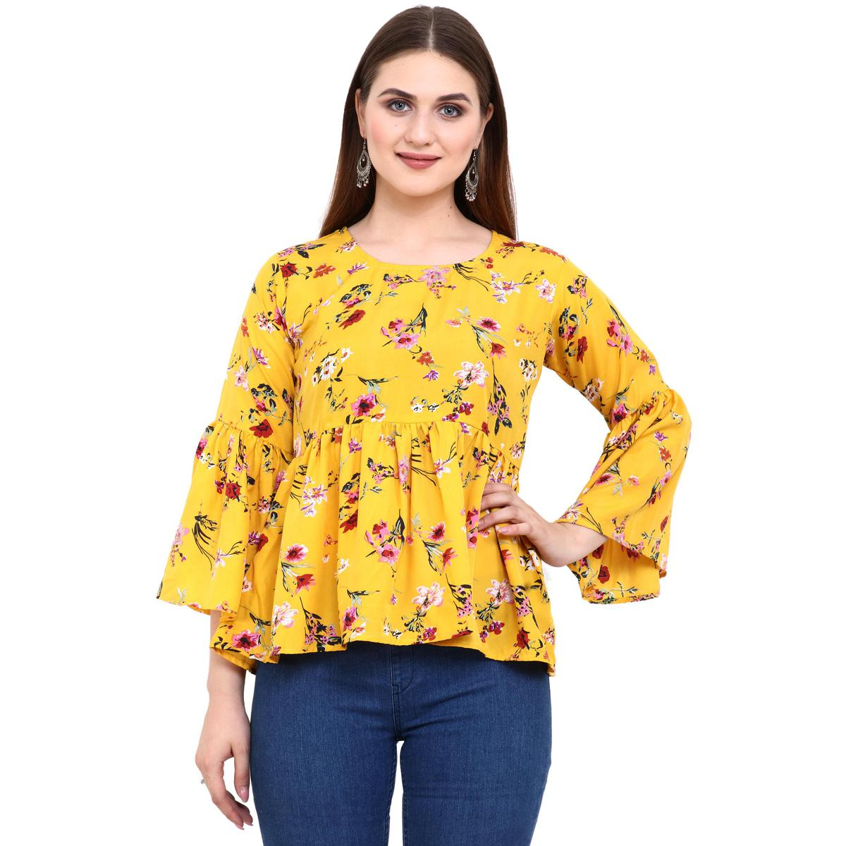 OMADAM - Yellow Colored Casual Floral Printed Crepe Top