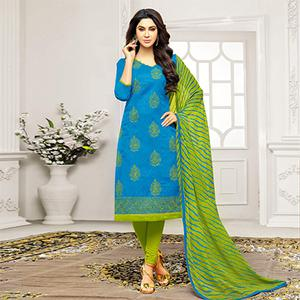 Sky Blue - Green Straight Cut Embroidered Chanderi Suit