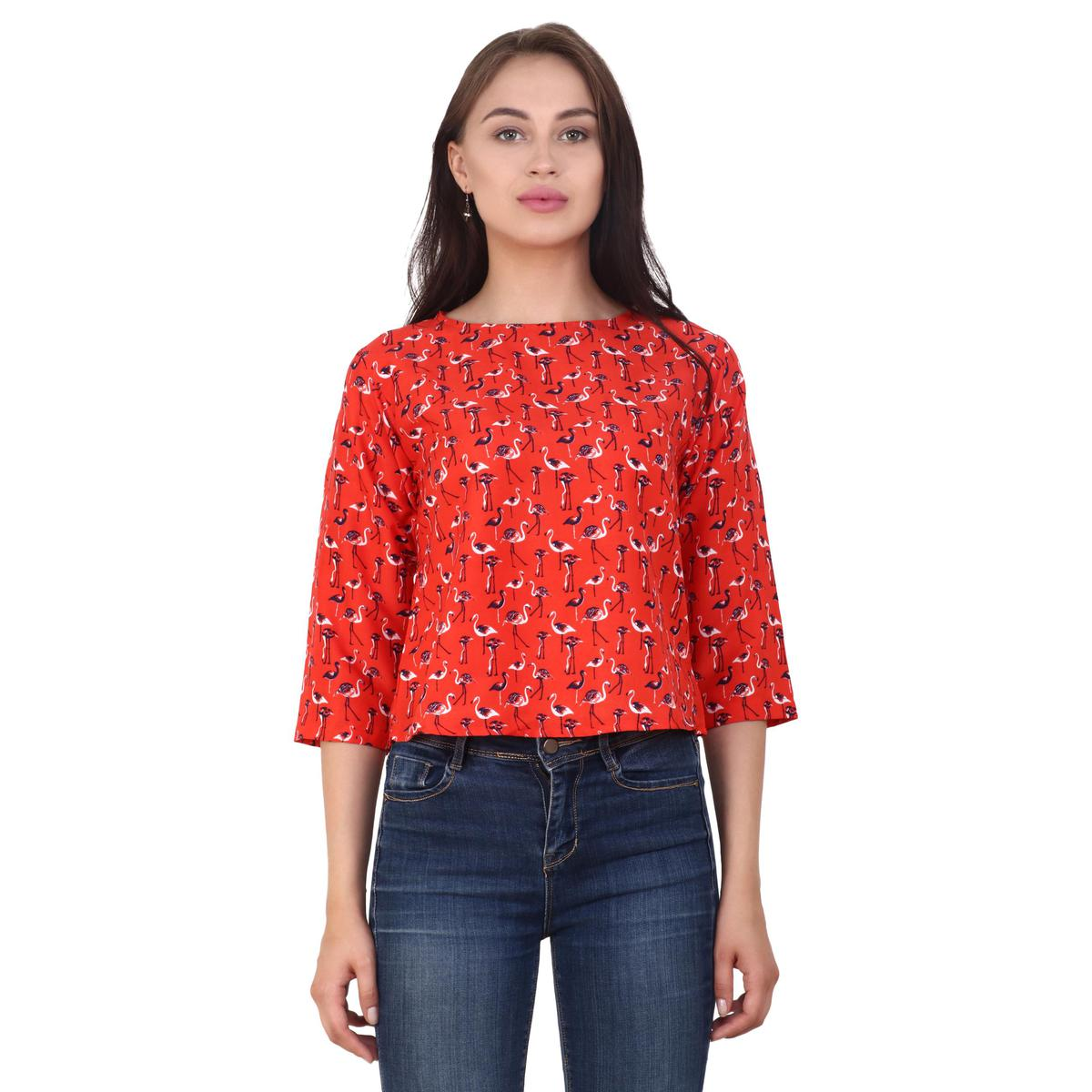 OMADAM - Red Colored Casual Printed Crepe Top
