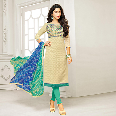 Beige Straight Cut Embroidered Chanderi Suit