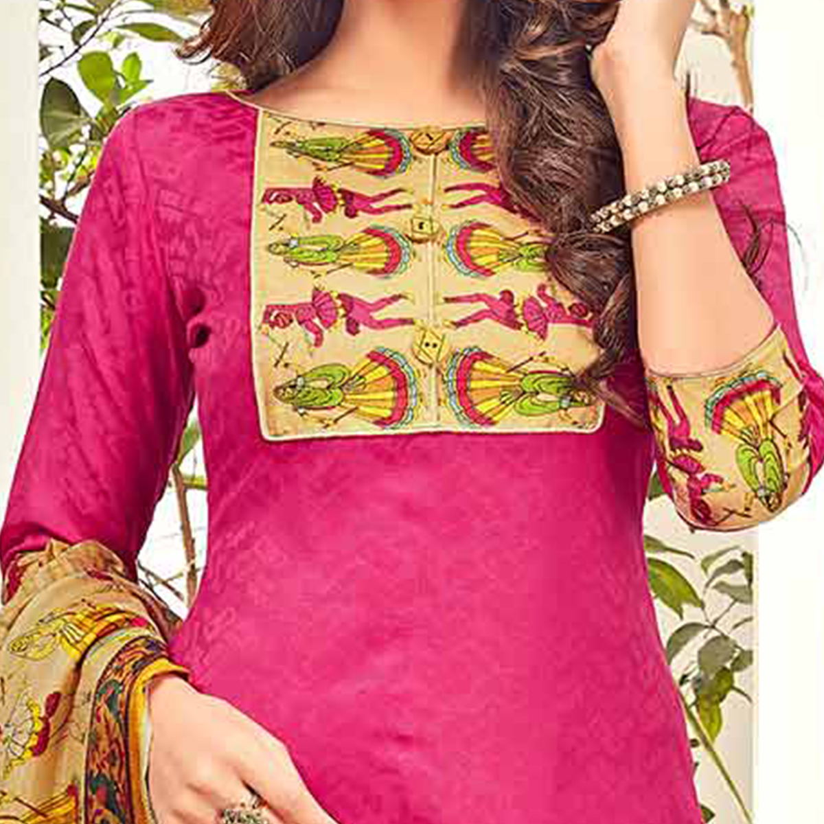Stunning Hot Pink Printed Cotton Blend Suit