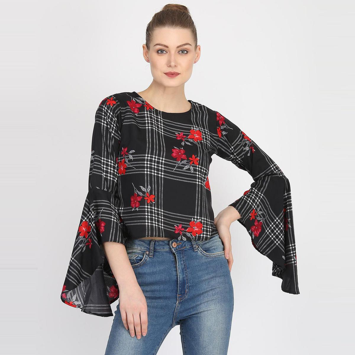 OMADAM - Black Colored Casual Floral-Checked Printed Crepe Top