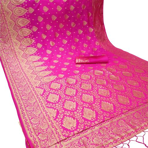 Innovative Pink Colored Festive Wear Woven Banarasi Silk Saree