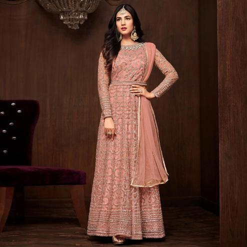 Blissful Pink Colored Partywear Embroidered Netted Anarkali Suit