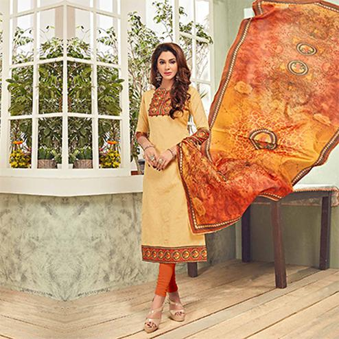 Beautiful Beige - Orange Printed Cotton Blend Suit