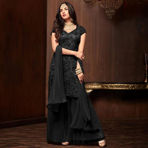 Ethnic Black Colored Partywear Embroidered Netted Palazzo Suit