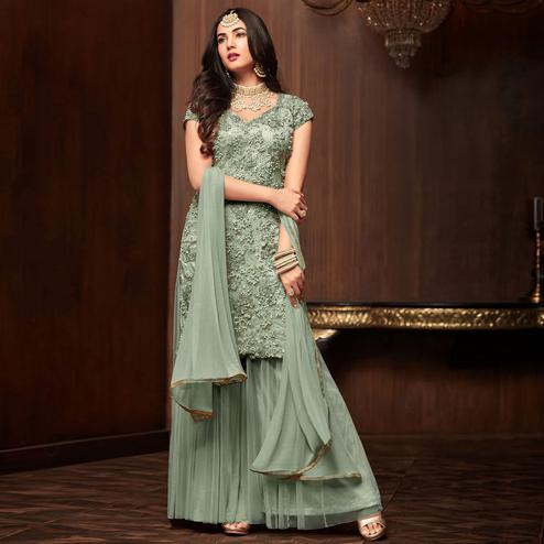 Pleasance Olive Green Colored Partywear Embroidered Netted Palazzo Suit
