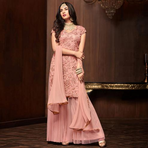Impressive Pink Colored Partywear Embroidered Netted Palazzo Suit