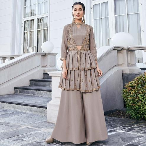 Exotic Light Brown Colored Party Wear Embroidered Chinon Art Silk Kurti-Palazzo Set