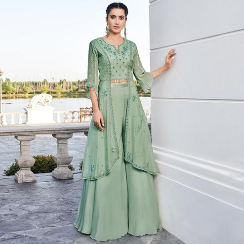 Radiant Green Colored Party Wear Embroidered Chinon Art Silk Kurti-Palazzo Set