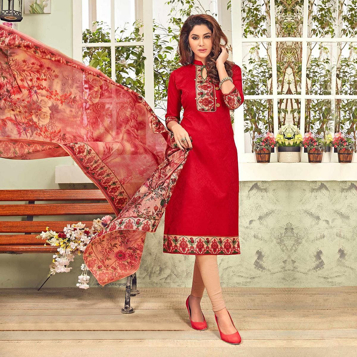 Delightful Red Printed Cotton Blend Suit