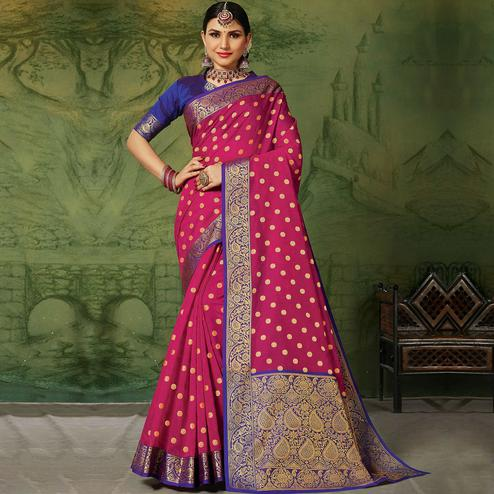 Classy Pink Colored Festive Wear Woven Handloom Silk Saree
