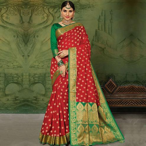 Prominent Red Colored Festive Wear Woven Handloom Silk Saree