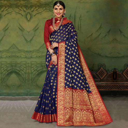 Appealing Navy Blue Colored Festive Wear Woven Handloom Silk Saree