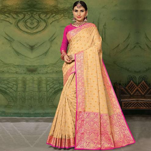 Capricious Beige Colored Festive Wear Woven Handloom Silk Saree